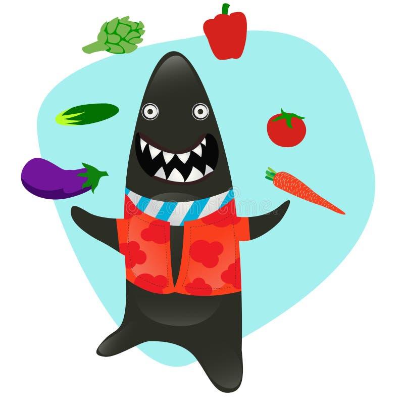 kuchennego udziałów serii rekinu sharky veggies ilustracji