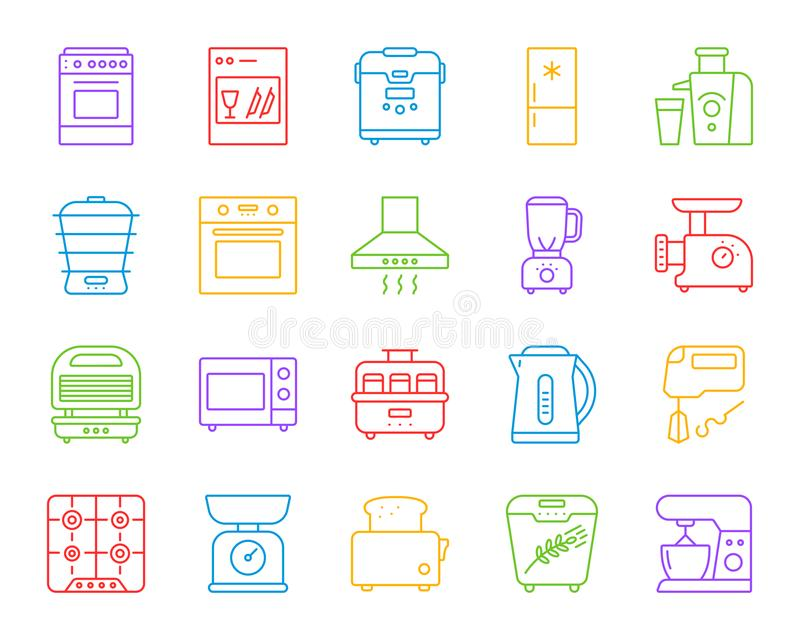 Kuchennego urządzenia ikon wektoru prosty kreskowy set ilustracji