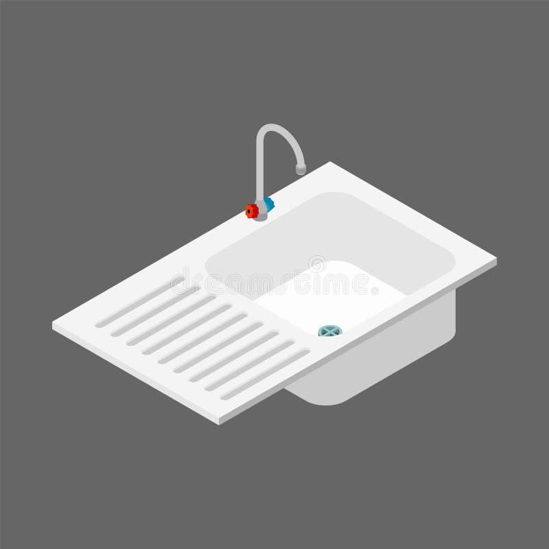 Kuchennego zlew isometry odosobniony kaczki formularzowi kuchenni ładni poparcia naczynia Wektorowy illustr ilustracji