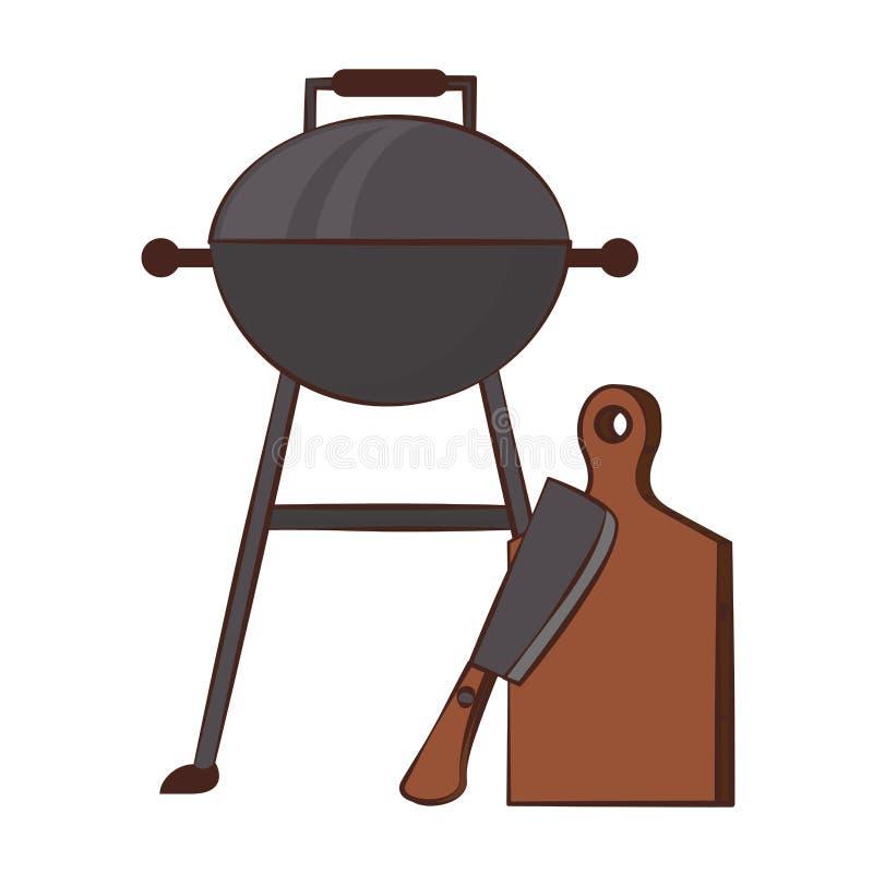 Kuchenni grillów naczynia dla grilla ilustracja wektor