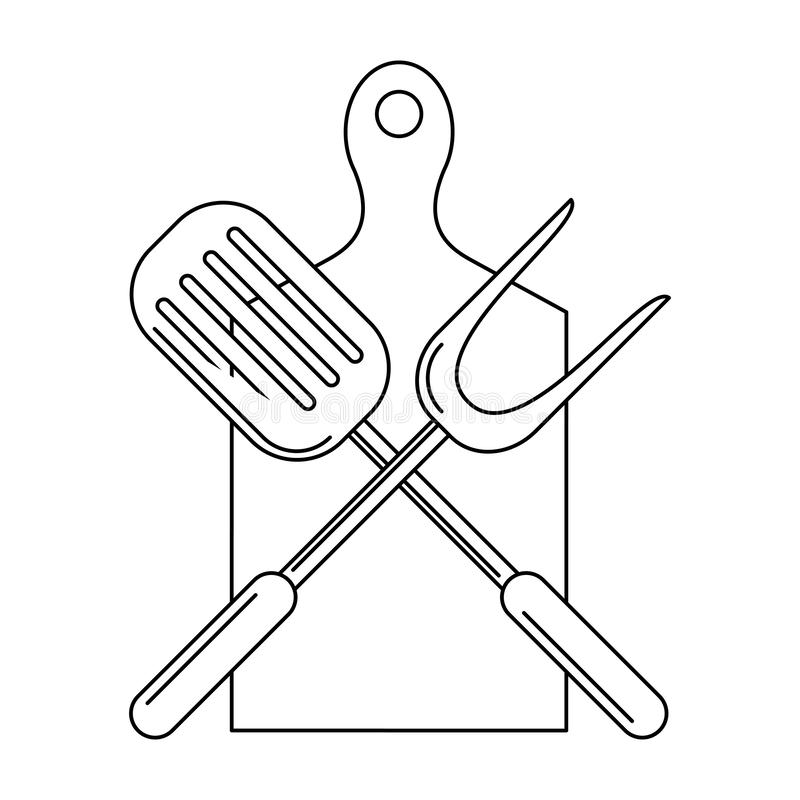 Kuchenni grillów naczynia dla grilla w czarny i biały ilustracja wektor