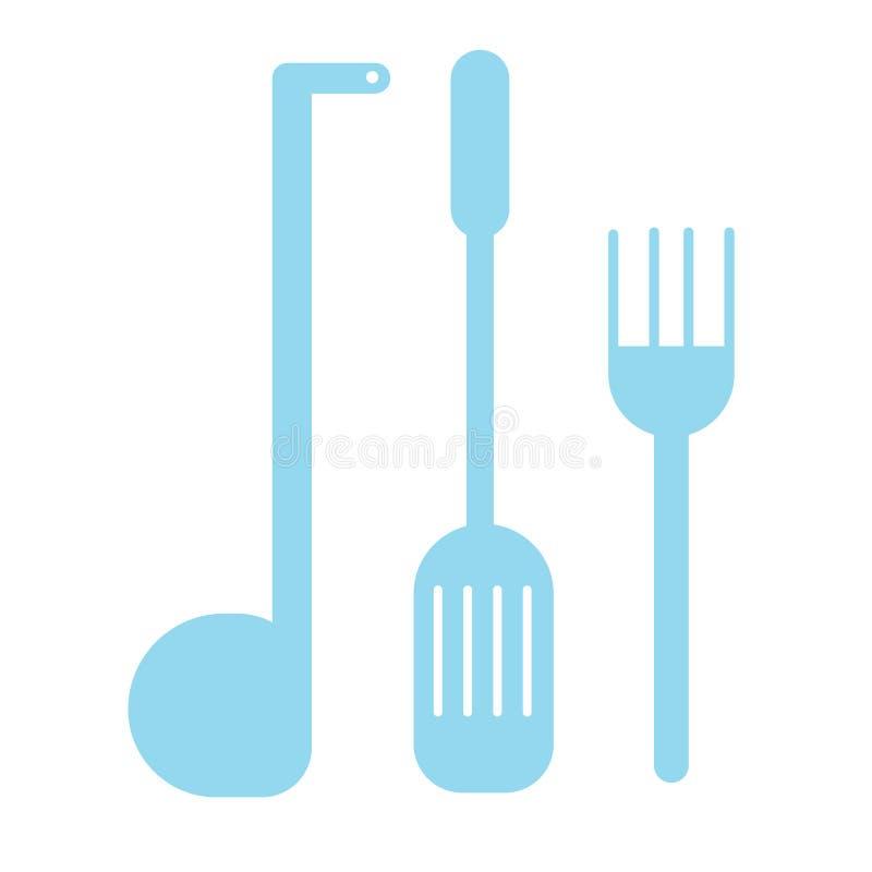 Kuchenni naczynia barwią prostą ilustrację royalty ilustracja