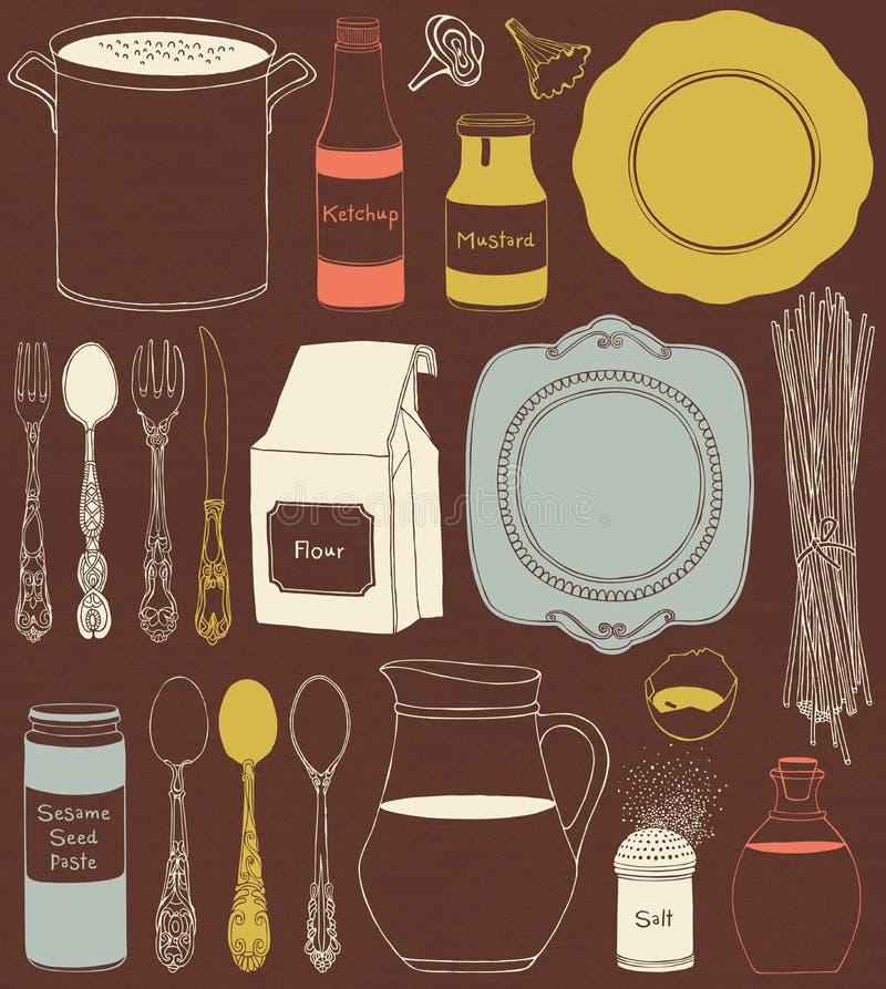 Kuchenni naczynia i jedzenie Cookware, domowego kucharstwa tło royalty ilustracja