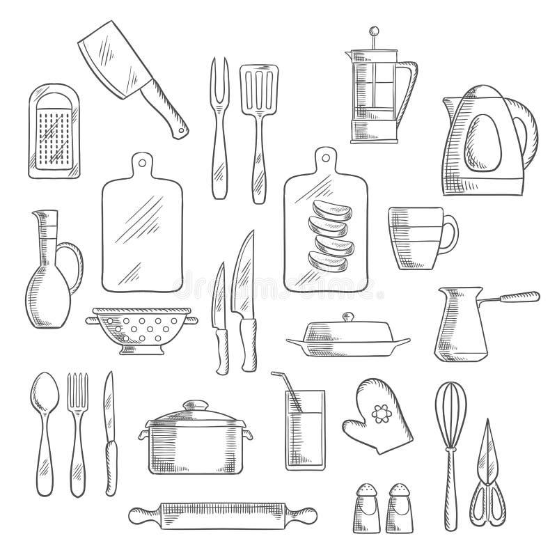 Kuchenni naczynia i urządzeń nakreślenia ilustracji