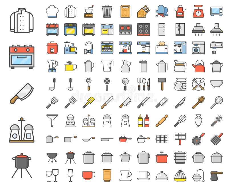 Kuchenni naczynia, piekarni equipments, szefa kuchni mundur i domowy appli, royalty ilustracja