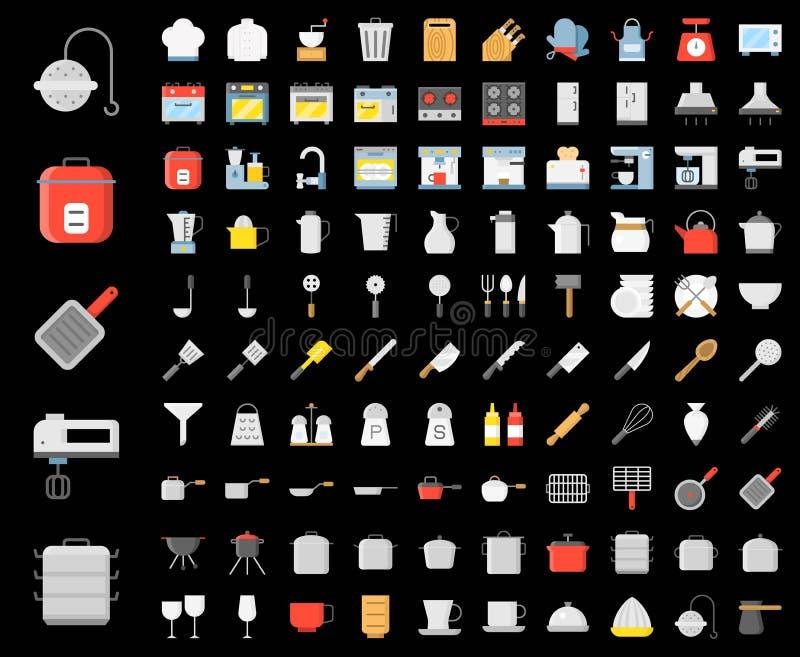 Kuchenni naczynia, piekarni equipments, szefa kuchni mundur i domowy appli, ilustracji