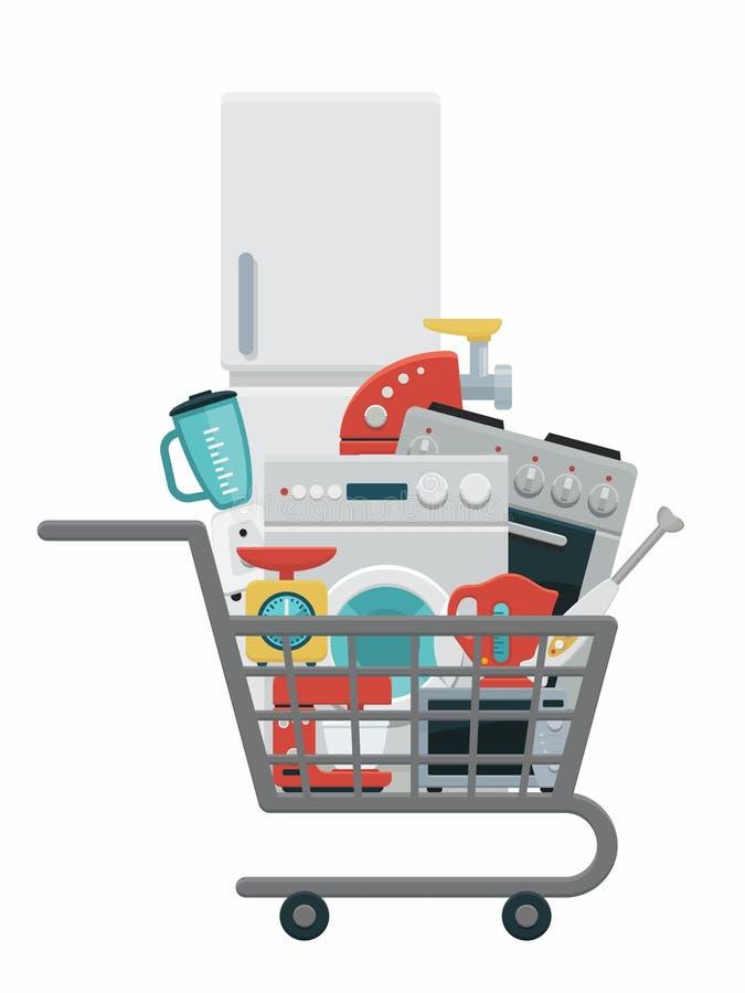 Kuchenni urządzenia w wózek na zakupy royalty ilustracja