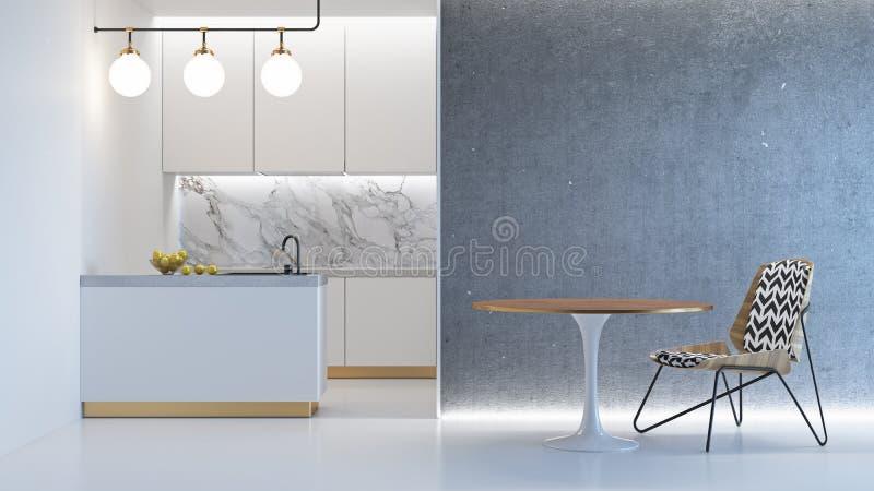 Kuchenny biały minimalistic wnętrze ilustracji