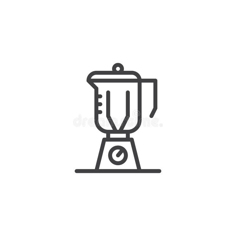 Kuchenny blender z szklanego zbiornika konturu ikoną ilustracja wektor