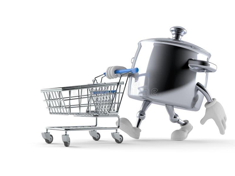 Kuchenny garnka charakter z wózek na zakupy ilustracja wektor