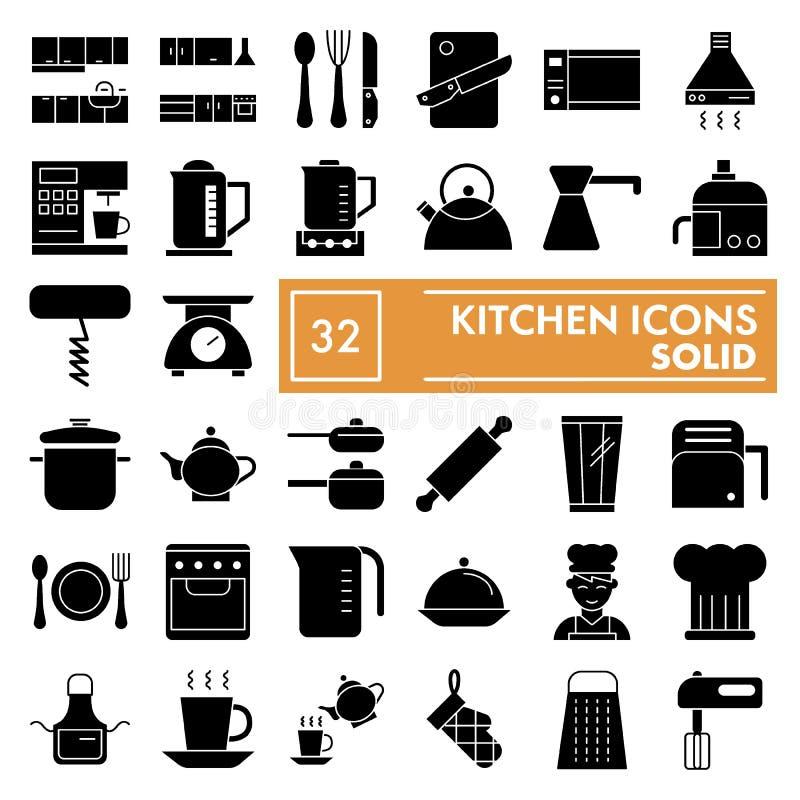 Kuchenny glif ikony set, kulinarni symbole kolekcja, wektor kreśli, logo ilustracje, naczynie znaków bryły piktogramy royalty ilustracja