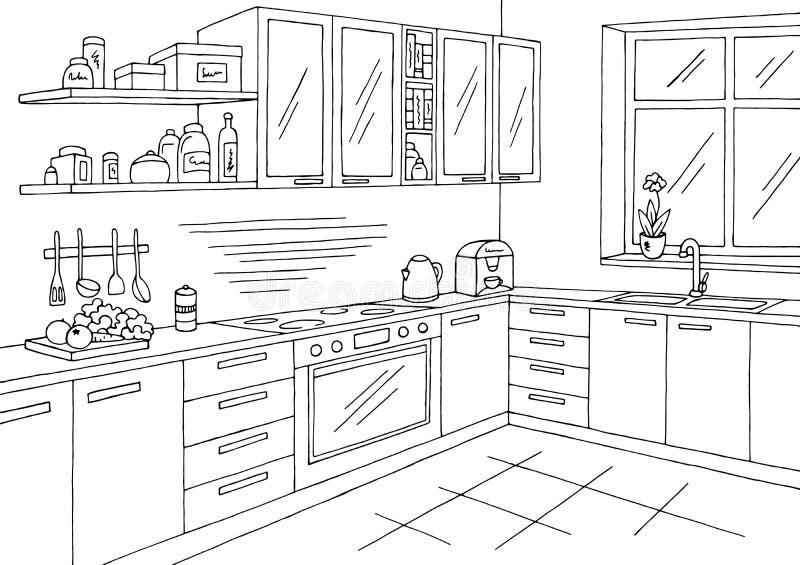 Kuchenny izbowy graficzny czarny biały wewnętrzny nakreślenie ilustraci wektor royalty ilustracja