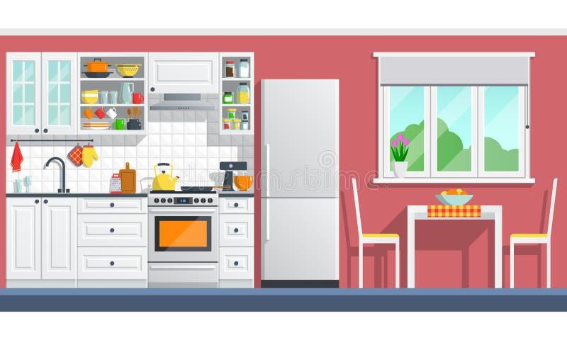 Kuchenny meble z urządzeniami na czerwieni ścianie royalty ilustracja