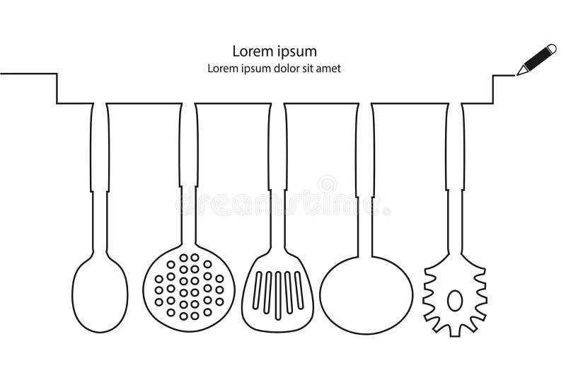 Kuchenny naczynie linii projekta wektor ilustracja wektor