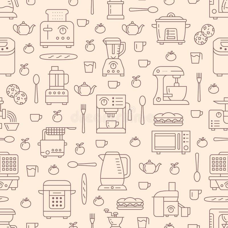 Kuchenny naczynie, małych urządzeń beżowy bezszwowy wzór z mieszkanie linii ikonami Tło z gospodarstwa domowego kucharstwa narzęd ilustracja wektor