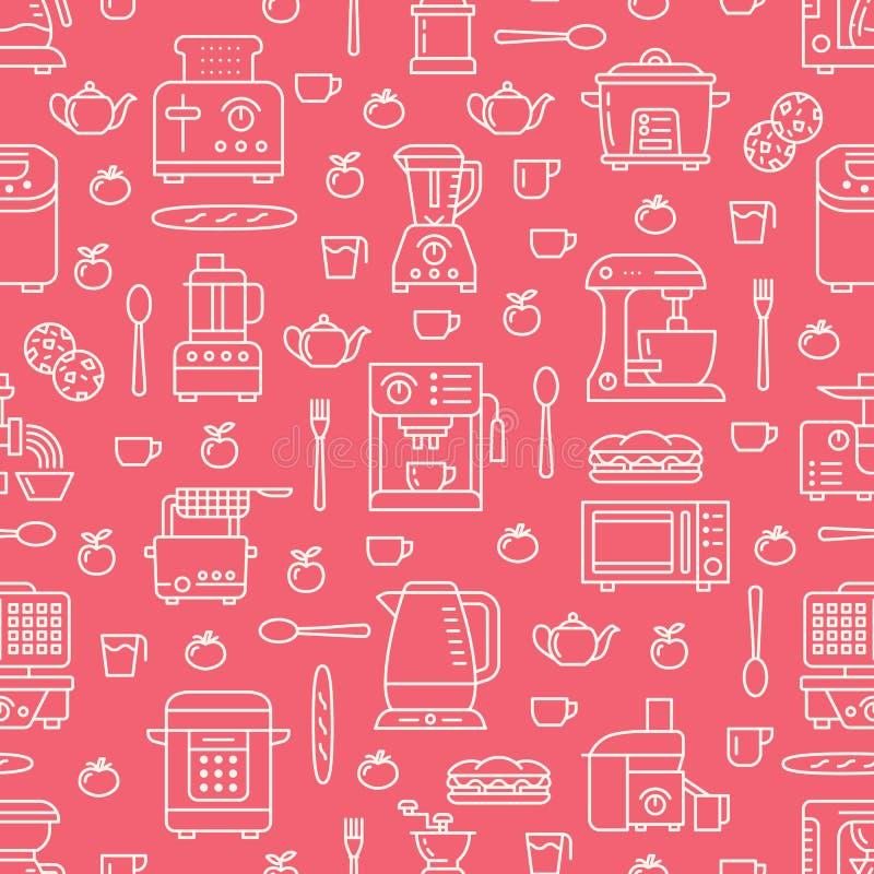 Kuchenny naczynie, małych urządzeń czerwony bezszwowy wzór z mieszkanie linii ikonami Tło z gospodarstwa domowego kucharstwa narz ilustracji