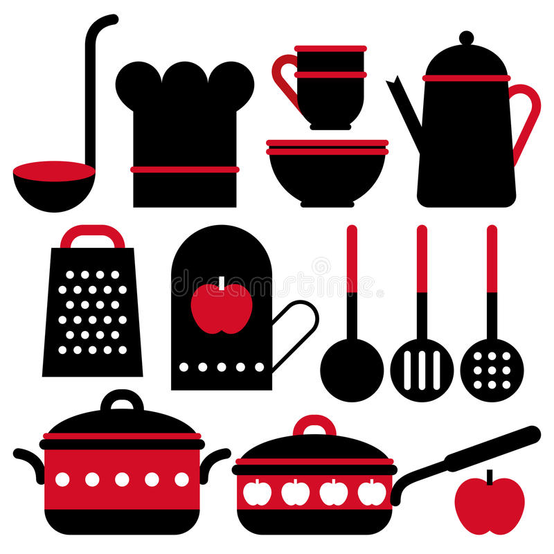 Kuchenny naczynie set ilustracji