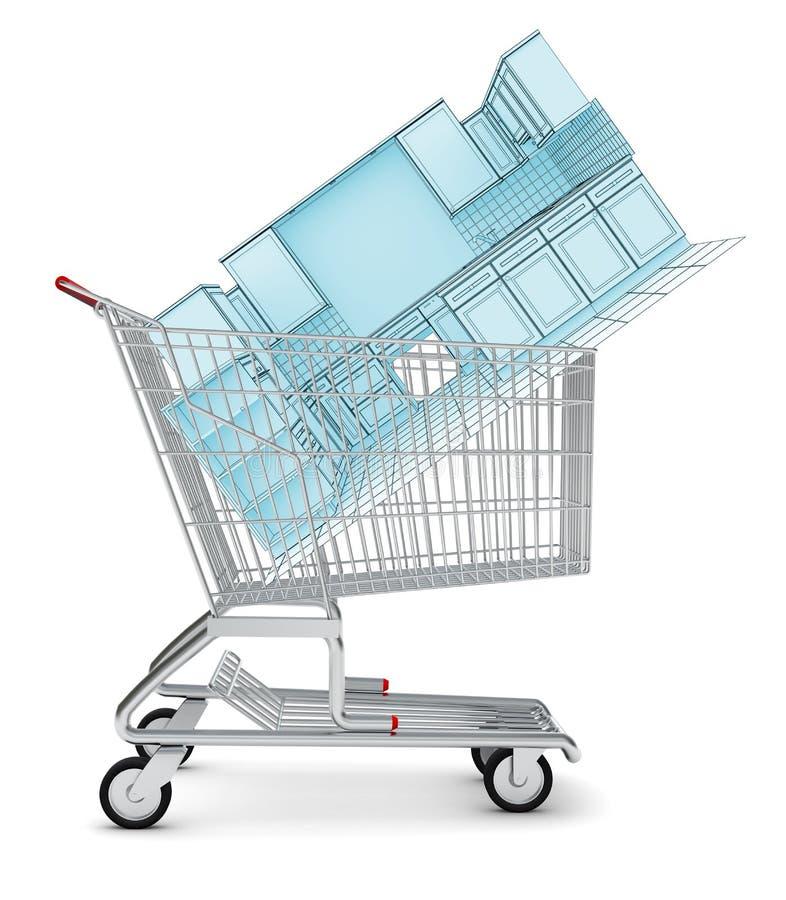 Kuchenny nakreślenie w wózek na zakupy ilustracja wektor
