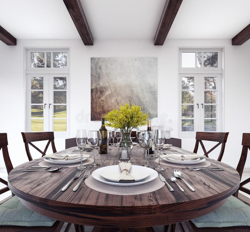 Kuchenny obiadowego stołu położenie ilustracja wektor