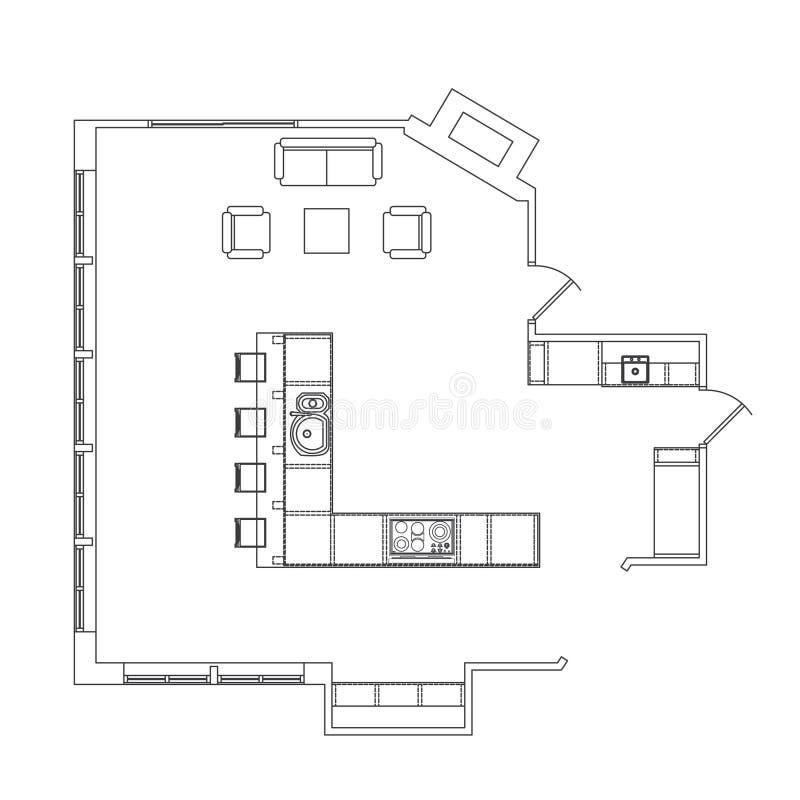 kuchenny plan ilustracja wektor