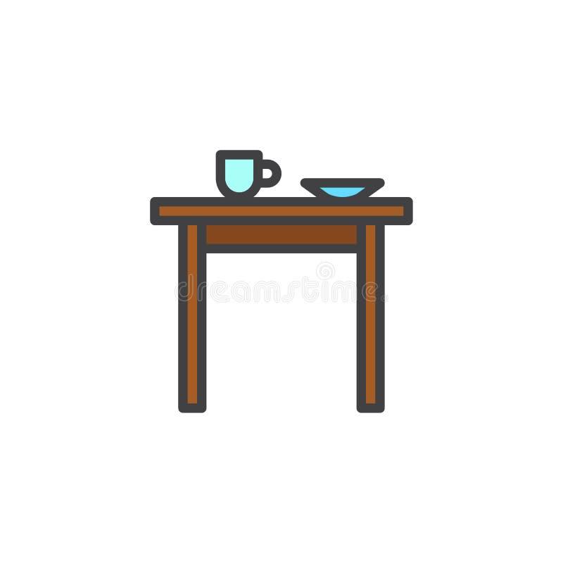 Kuchenny stół z filiżanką i talerz wypełniający zarysowywamy ikonę ilustracja wektor