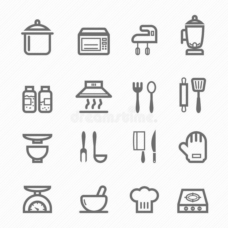 Kuchenny symbol linii ikony set royalty ilustracja