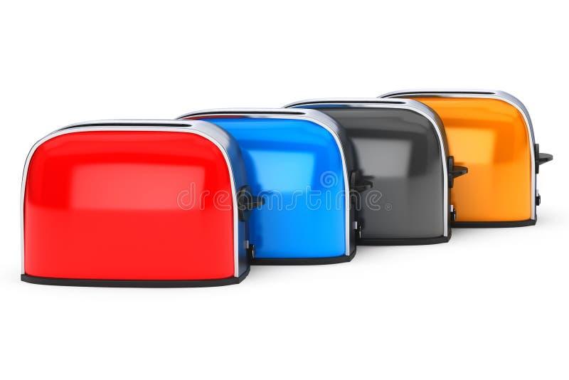Kuchenny urządzenie Rząd Multicolour roczników opiekacze ilustracja wektor