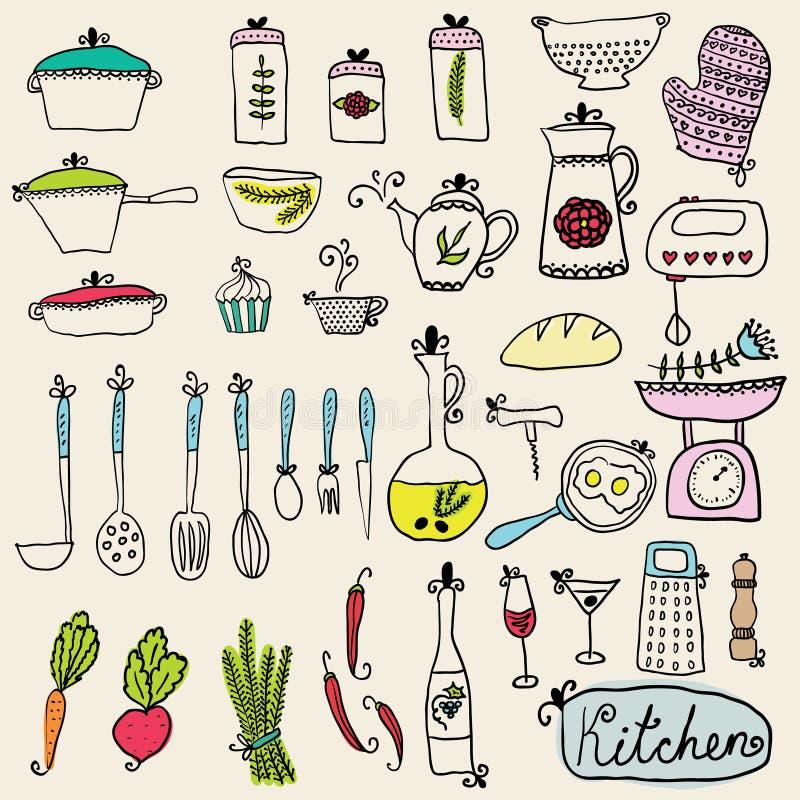 Kuchenny ustawiający w wektorze Eleganccy projektów elementy kuchnia ilustracja wektor