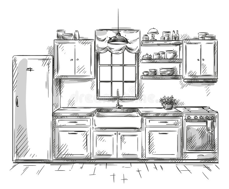 Kuchenny wewnętrzny rysunek, wektorowa ilustracja ilustracja wektor