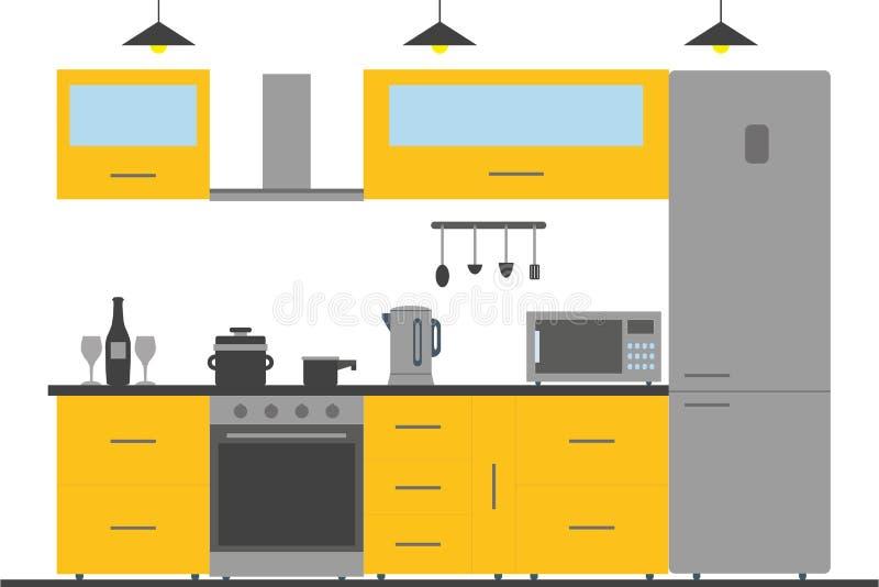 Kuchenny wnętrze z meble, naczyniami i przyrządami, royalty ilustracja