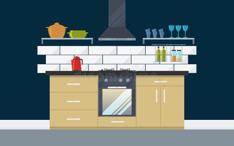 Kuchenny wnętrze z nowożytnym meble i urządzeniami royalty ilustracja