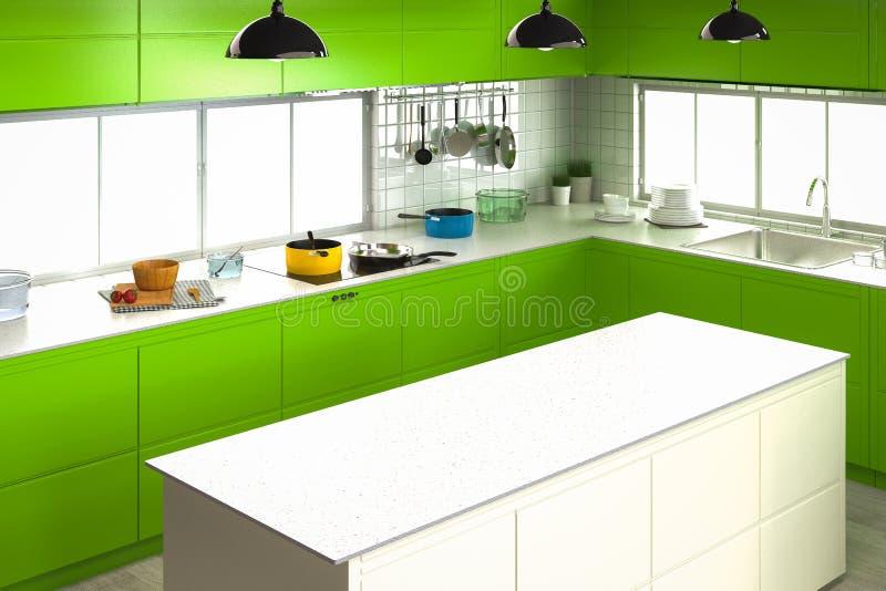 Kuchenny wnętrze z pustym kontuarem ilustracja wektor