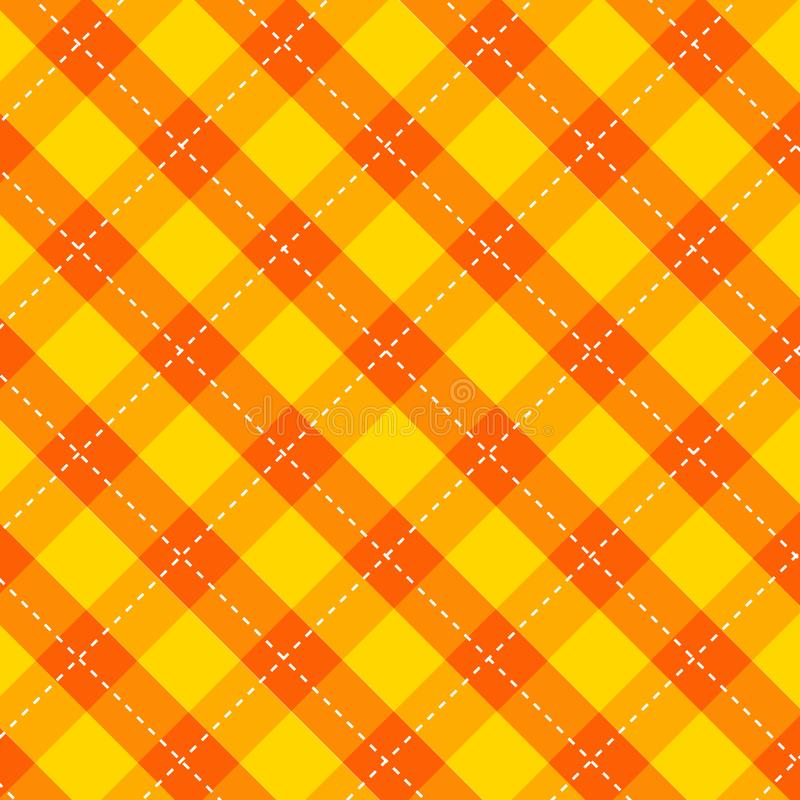 Kuchenny wzór obruszki z kolorem żółto-pomarańczowym bezszwowy, geometryczny, prostokątny wzór tkaniny jesień ilustracji