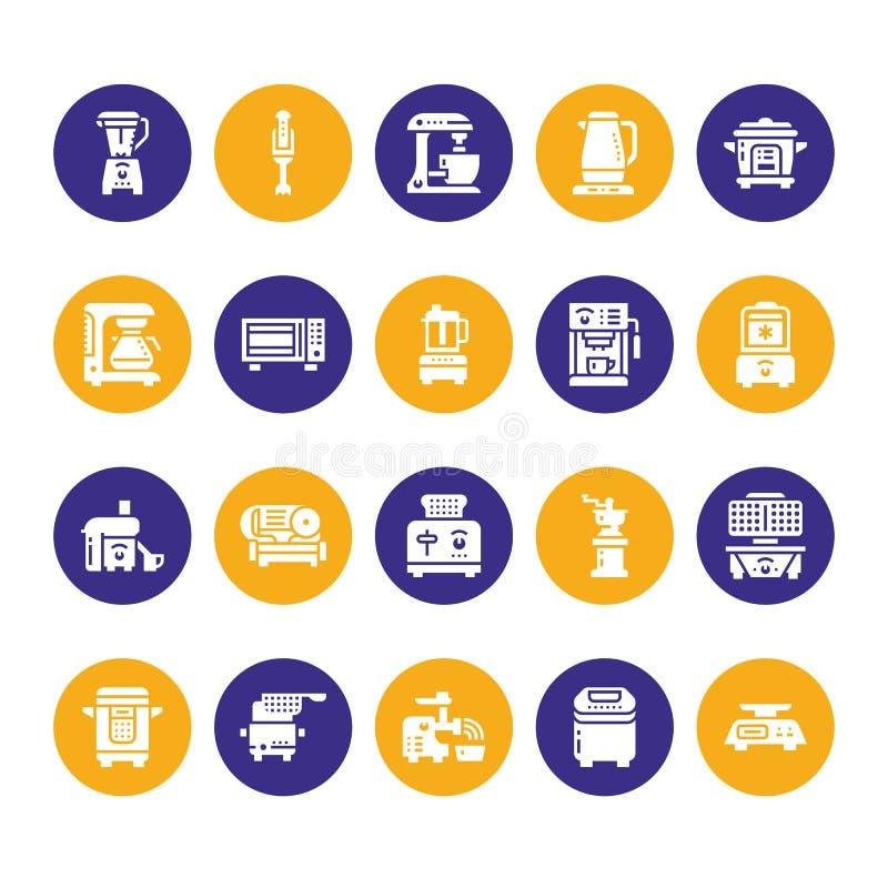 Kuchennych małych urządzeń glifu wektoru płaskie ikony Gospodarstwa domowego kucharstwa narzędzi znaki Karmowego przygotowania wy royalty ilustracja