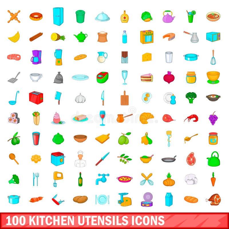 100 kuchennych naczyń ikon ustawiających, kreskówka styl ilustracji