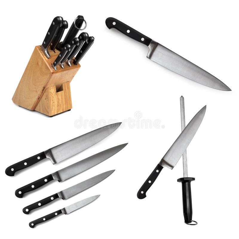 Kuchennych noży kolekcja odizolowywająca zdjęcia stock