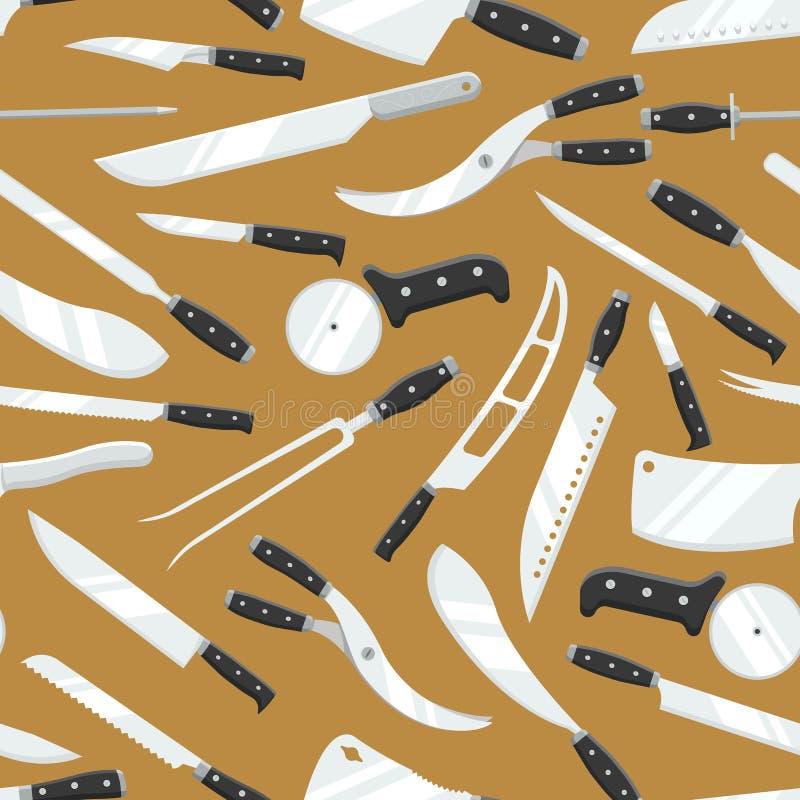 Kuchennych noży masarki mięsa wektorowego noża szefa kuchni ustalony rozcięcie z kuchennym drawknife, cleaver lub ostrza knifepoi ilustracji