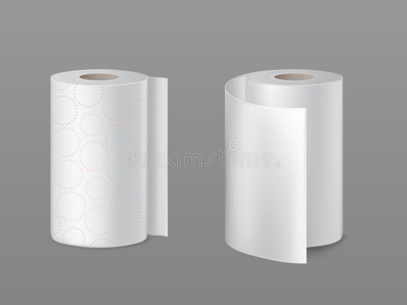 Kuchennych papierowych ręczników rolek realistyczni wektory ilustracji