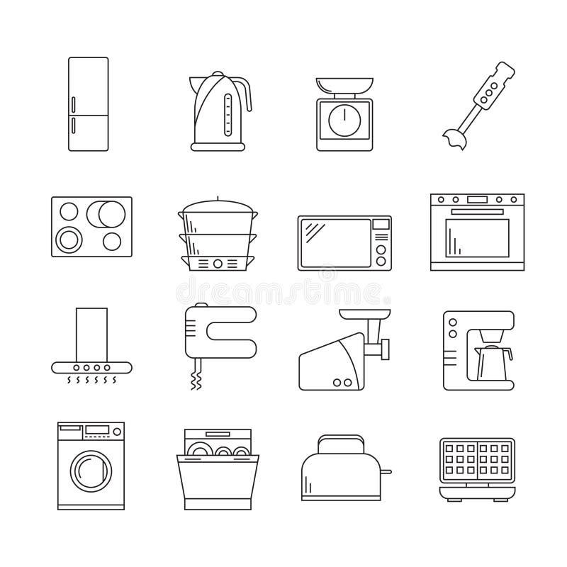 Kuchennych urządzeń znaków czerni ikony Cienki Kreskowy set wektor ilustracja wektor