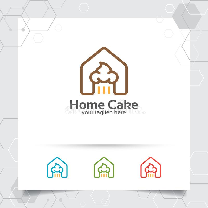 Kuchenvektor-Logoentwurf mit Hauptikonensymbol für Kuchenfabrik Einfache Linie Kuchenikonenvektor lizenzfreie abbildung