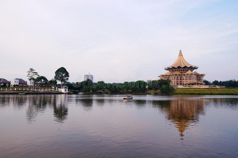Kuching, Borneo (Malaysia) at Dusk. A view from Kuching waterfront with Astana Palace and Sarawak State Legislative Assembly (DUN) building - the iconic stock images