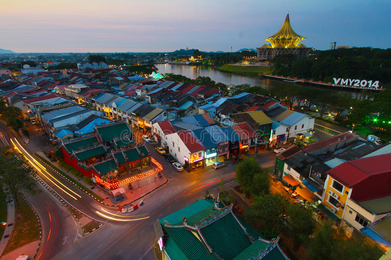 Download Kuching City In The Evening Royalty Free Stock Photography - Image: 37530547