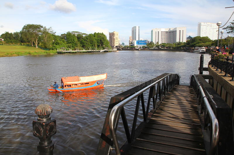 Kuching City Riverside With Traditional Boat Editorial Photography