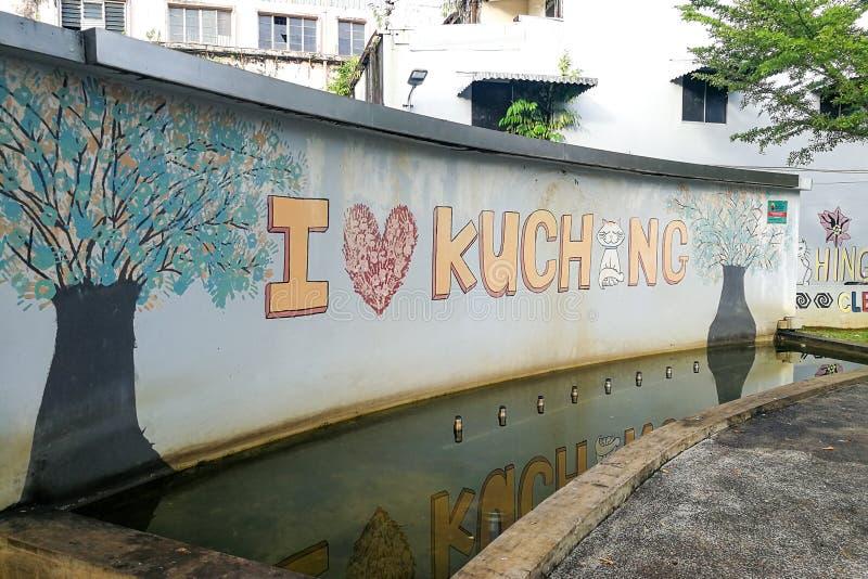 KUCHING, MALÁSIA, o 18 de abril de 2019: Marco da atração turística e do destino populares em Kuching, Sarawak Mim amor Kuchi foto de stock