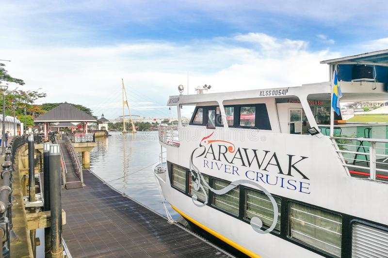KUCHING, MALAYSIA, April 18, 2019: Sarawak River Cruise provides tourist with cruising experience along Sarawak river, enjoying. Panoramic view of Kuching city stock photography