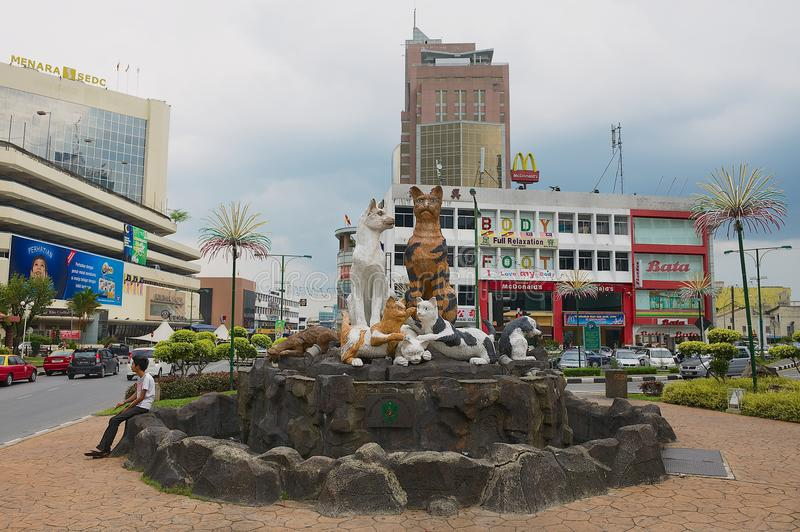 Exterior of the Cats monument in downtown Kuching, Malaysia. KUCHING, MALAYSIA - AUGUST 26, 2009: Exterior of the Cats monument in downtown Kuching, Malaysia stock images