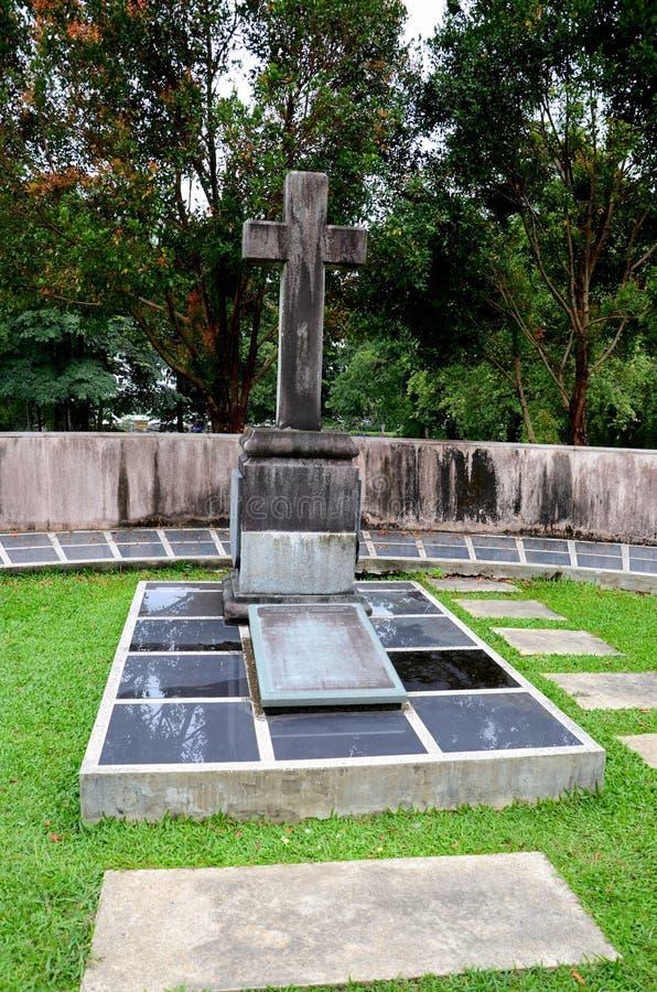 Grave of member of Brooke family White Rajah of Sarawak Fort Margherita Kuching Malaysia. Kuching, Malaysia - October 13, 2018: Outside of Fort Margherita on the stock photos