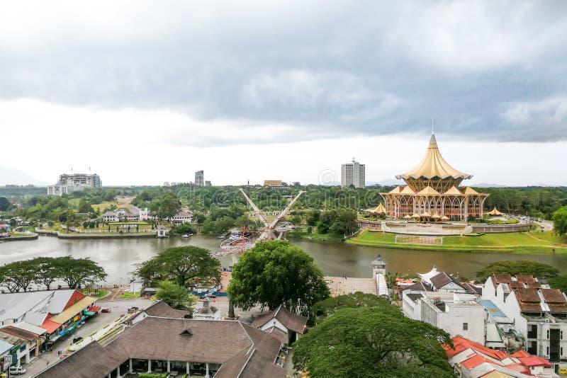 KUCHING, Malezja, Czerwiec 25, 2017: Przegląd Kuching miasta wate zdjęcie royalty free