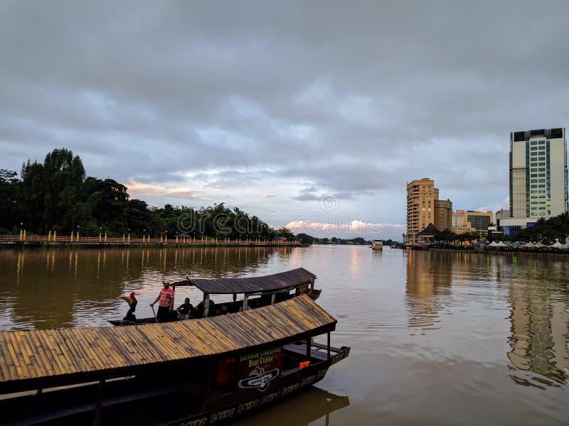 Kuching rzeczny widok Malaysia Borneo obraz stock
