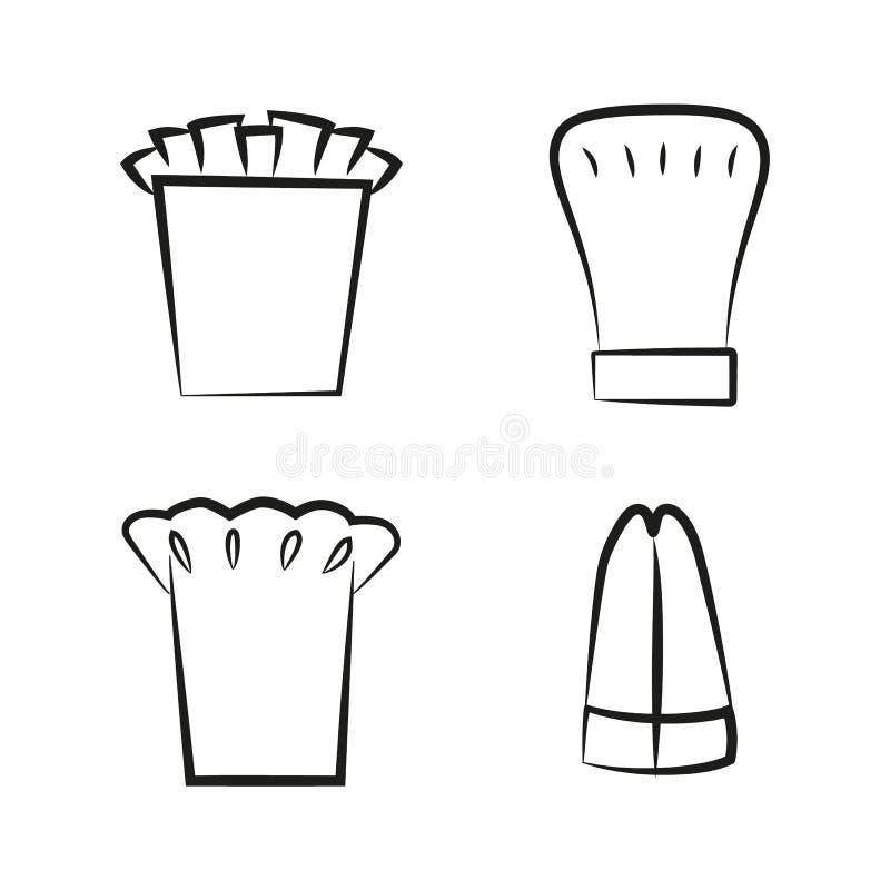 Kuchni Headwear nakrętka Ustawiająca rzecz dla Piekarnianego szefa kuchni Cook ilustracji